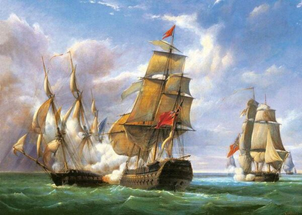 Copy of Combat between the French Frigate La Canonniere and the English Vessel The Tremendous - Puzzle - 3000 Teile