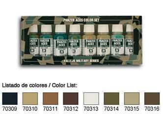 Panzer Aces Set No2 (8 Farben) (Wood