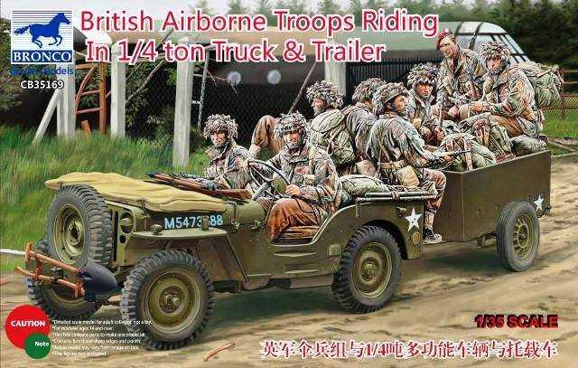 British Airborne Troops Riding In 1/4Ton Truck & Trailer