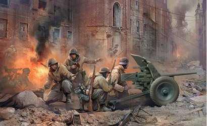 WWII Dt. PAK 36 mit Mannschaft