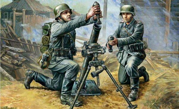 WWII Deutscher 81-mm Mörser mit Mannschaft