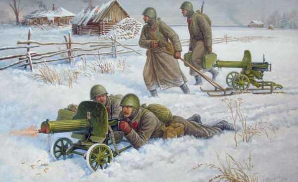 Sov.Maschinengewehr m.Crew (Winter)