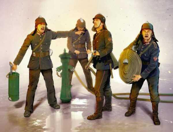 WWII German Firemen (4 Figuren)