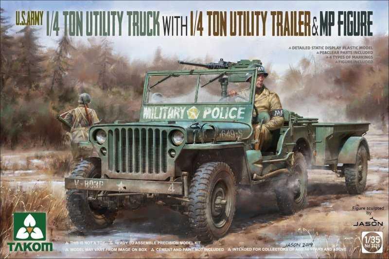 U.S. Army 1/4 ton utility truck with 1/4 ton utility trailer & MP figure