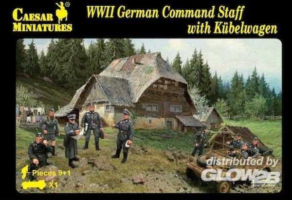WWII German Command Staff with Kübelwagen