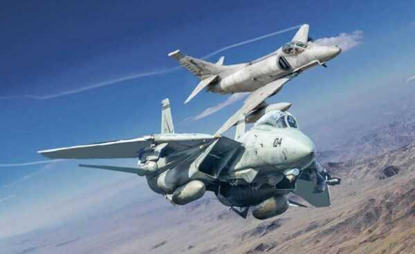 US Navy Fighter Tomcat F-14A vs Douglas A-4F
