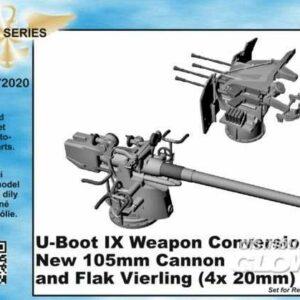 U-Boot IX Weapon - Conversion set - new 105mm cannon a.Flak Vierling [Revell]