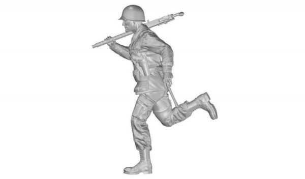 US WW2 Soldier (101 Airborne) Running w.M2 Machine Gun over his Shoulder