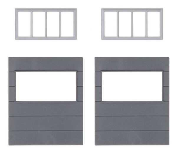2 Wandelemente mit horizontalen Fenstern