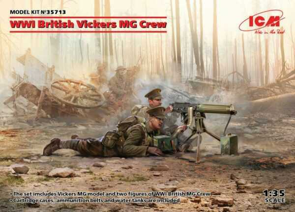 WWI British Vickers MG Crew (Vickers MG & 2figures)