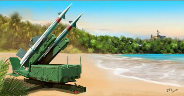 Soviet 5P71 Launcher with 5V27 Missile Pechora (SA-3B Goa) Rounds Loaded