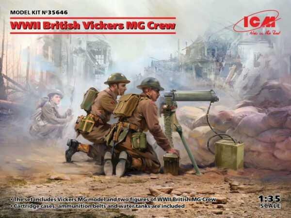 WWII British Vickers MG Crew (Vickers MG & 2 figures)