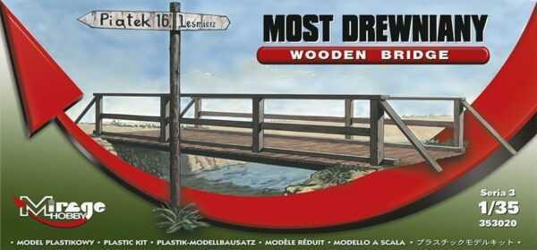 Holzbrücke mit Geländer und Wegweiser