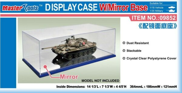 Display Case w/Mirror Base 364x186x121mm WxLxH